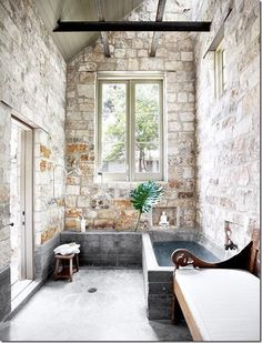 exposed brick & soapstone--love