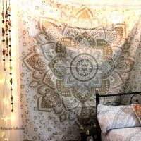 Buy Gold and white floral mandala tapestry 100% Cotton and Vegan Color - Gold and white Ships worldwide from India Handmade item with love from India