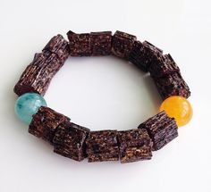 Unique Brown Handmade Bracelet Yellow by BannerDesignShop on Etsy