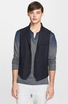 John Varvatos Men's Collection Extra Trim Fit Linen Wool Vest | Clothing