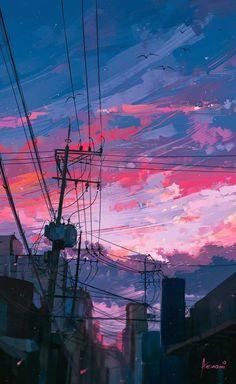 waneella is creating pixel art Anime Scenery Wallpaper, Landscape Wallpaper, Aesthetic Pastel Wallpaper, Aesthetic Backgrounds, Aesthetic Wallpapers, Wallpaper Backgrounds, Mobile Wallpaper, Wallpaper Art, Iphone Wallpaper Tokyo