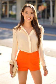 Hapa Time - a California fashion blog by Jessica: Styling How-To: Orange High-Waist Shorts