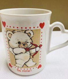 Vtg Enesco Flurry Valentine's Day Coffee Mug Cupid Bear Be Mine Heart Handle #Unbranded #valentinesday