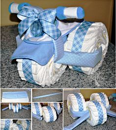 I found this creative baby gift idea on Pinteresting-- Tricycle Diaper Cake ! It's another fun Baby Shower Gift you can make all by yourself. It is not too