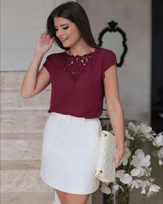 La blusa Edgy Outfits, Office Outfits, Classy Outfits, Cool Outfits, Women's Fashion Dresses, Casual Dresses, Short Dresses, Moda Chic, Autumn Fashion Casual