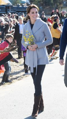 Kate Middleton Opts for a Cozy Gray Coat and Cowboy Boots for a Mountain Trek from InStyle.com