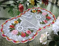 Krone Crochet: Brand new crochet doily, floral oval crochet doily...