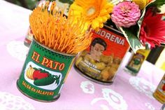 Super cute arrangments in food cans