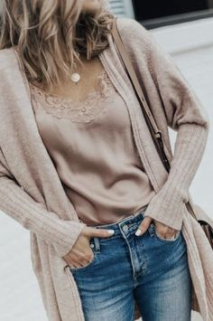 Fall Outfit: Cozy Cardigan and Distressed Denim Fall Outfit: Cozy Cardigan and Distressed Denim,fashion & accessories Fall Outfit: Cozy Cardi, Sweet & Spark Pink Silk Lace Cami and Distressed Denim Denim Fashion, Look Fashion, Fashion Outfits, Womens Fashion, Fashion Trends, Fall Fashion, Mode Outfits, Casual Outfits, Denim Outfits