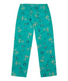 Love this Aqua Blue Palm Tree Pajama Pants by Life is good® on #zulily! #zulilyfinds