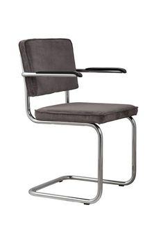 Zuiver+-+Ridge+Spisestuestol+-+Sort+spisebordsstol+med+armlen+i+ribbet+fløyel+og+stell+i+krom.+Retro+stol+til+spisestuen+med+et+moderne+look.