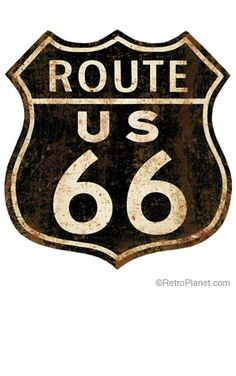 image of Route 66 Distressed 36 Inch Wall Decal