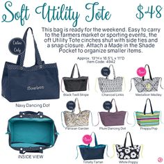 Soft Utility Tote by Thirty-One. Fall/Winter 2016. Click to order. Join my VIP…