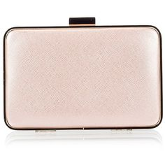 Coccinelle - Metallic pink saffiano leather box clutch bag (9.810 RUB) ❤ liked on Polyvore featuring bags, handbags, clutches, pink rose, special occasion handbags, evening handbags, metallic handbags, evening clutches and special occasion clutches