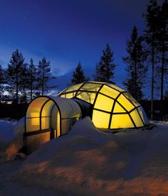 hotel igloo village kakslauttanen in finland. stay in a glass igloo and see the northern lights! Oh The Places You'll Go, Places To Travel, Igloo Village, See The Northern Lights, Arctic Circle, Blog Voyage, Stargazing, Arquitetura, Northern Lights