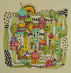 Zentangle village (MakeArtBeHappy) Tags: doodle coloredpencil zentangle