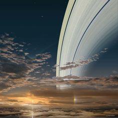 Saturno, a 1,43 bilhão de quilômetros do Sol (Foto: Ron Miller   Divulgação)