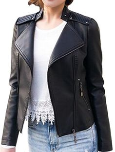 6537f835063a  29.99 - Benibos Women s Zipper Motorcycle Biker Faux Leather Jackets  Material  Faux Leather High quality