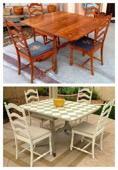mesa antiga antes e depois