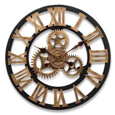 45CM 3D Horloge Murale Quartz Antique Gear Bois Luxury Handmade Crochet Or