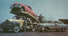 Vintage Cars Ford auto trailer hauler truck delivering new Ford cars - Ford Trucks, Custom Pickup Trucks, Classic Pickup Trucks, Old Pickup Trucks, Ford Tractors, Trucks Only, Big Trucks, Semi Trucks, Cadillac Eldorado