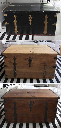 Old wooden trunk makeover, stripping paint, diy - redoing a trunk like this for our guest room.