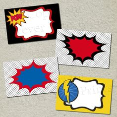 Superhero Printable Table Labels - Buffet Cards - DIY - 4 DESIGNS. $6.50, via Etsy.