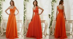 one shoulder orange bridesmaid dresses