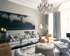 elle decor, living room, tufted chairs