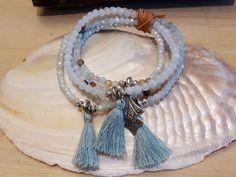MILA - 5-er Perlenarmband - hellblau Jewelry, Semi Precious Beads, Light Blue, Wristlets, Jewlery, Jewerly, Schmuck, Jewels, Jewelery