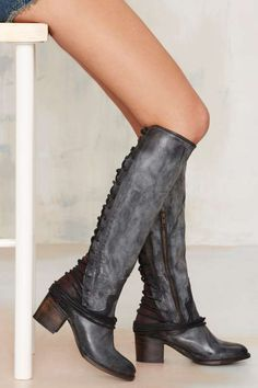 Freebird by Steven Coal Lace-Up Leather Boot - Boots + Booties