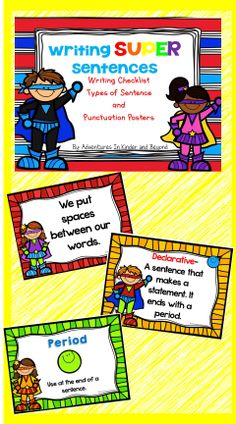 This set has 3 types of posters to help your beginning writers remember what they need to do to create SUPER sentences. Using a cute superhero theme these colorful posters are sure to make your students writing soar! Included are -How to write SUPER sente Superhero Classroom Theme, Classroom Themes, Comprehension Activities, Literacy Activities, Kindergarten Language Arts, Kindergarten Classroom, Punctuation Posters, Writing Checklist, School Themes