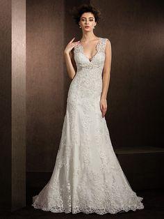 Lanting nevěsta plášť / sloupec křehké / plus velikosti svatební šaty kurt vlak Výstřih krajky - EUR €244.99