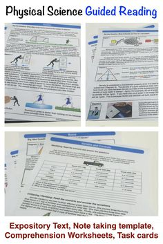 All the physical science topics in simple one page summaries with note taking guides, comprehension worksheets, and task cards. Covers scientific method, matter, chemistry, force, motion, space, and more