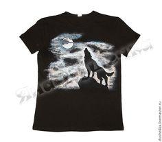 """Купить Футболка с росписью """"Одинокий волк"""" - черная футболка, футболка, футболка с росписью, футболка с рисунком"""