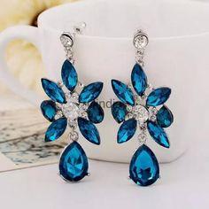 Vintage Crystal Oil Drop Gemstone Flower Leaves Dangle Earring Ear Stud