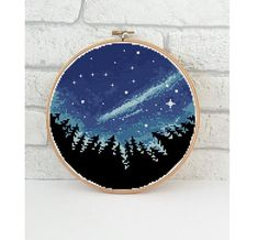 Big Dipper landscape cross stitch starry sky tree camping nature modern galaxy forest wild - Cross S Simple Cross Stitch, Modern Cross Stitch, Cross Stitch Designs, Cross Stitch Patterns, Embroidery Art, Cross Stitch Embroidery, Embroidery Patterns, Tree Camping, Diy Broderie