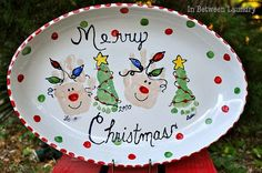 Handprint/Footprint Christmas Plate -- this could be done as a cute couple plate with both of your handprints nestled up together. It's a great way to have some holiday fun together, and the plate will remind you of that fun, and how much you mean to one another, year after year!:) ~DLP