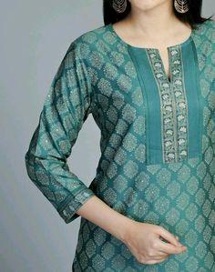 Embellish basic tunic with this add on yoke Printed Kurti Designs, Silk Kurti Designs, Churidar Neck Designs, Salwar Designs, Kurta Designs Women, Latest Kurti Designs, Neck Designs For Suits, Neckline Designs, Dress Neck Designs