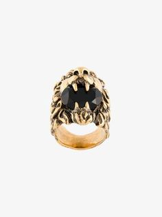 Gold-tone brass lion crystal ring from Gucci.