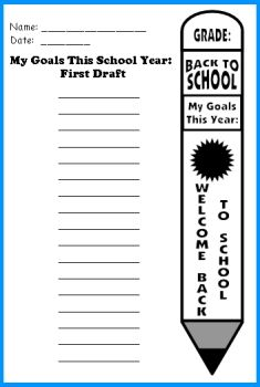 pencil writing templates for back to school my goals this year school pinterest school back to school and classroom