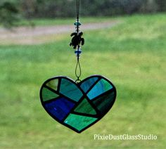 Stained Glass Suncatcher, Abstract Blue Heart, Ocean Blues and Greens with Sea Turtle Charm, Window Hanging, Glass Beach Decor, Patchwork