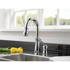 Delta, Leland Single-Handle Pull-Down Sprayer Bar Faucet in Chrome with MagnaTite Docking, 9978-DST at The Home Depot - Mobile
