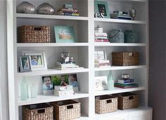Little Home Upgrades That Take Less Than 5 Minutes:   Rather than run your books all the way across the shelves, be sure to stack some into piles (which can double as bookends). Fill in with collectibles that share a unifying color scheme, all at eye level.