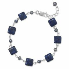 Sterling Silver 7 Inch+1 Inch Extention Lapis and Grey Cultured Freshwater Pearl Bracelet JewelryWeb. $52.30. Save 50%!