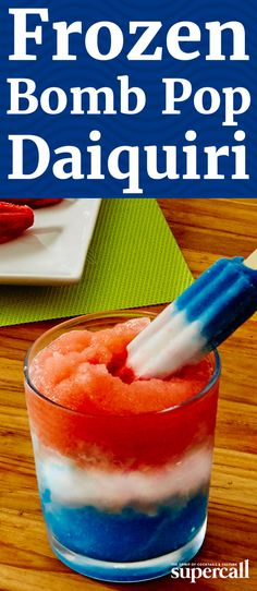 Reminiscent of one of our favorite childhood summer treats, the Bomb Pop (aka, the Firecracker), this rummy red, white and blue sipper is made up of three takes on the frozen Daiquiri. Perfect for your Fourth of July party. Fourth Of July Drinks, 4th Of July Party, July 4th, Fourth Of July Recipes, 4th July Food, Patriotic Party, Patriotic Crafts, July Crafts, Frozen Daiquiri
