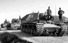 The column of KV-1Es soviet tanks captured by German and reused in Wermacht .At one Time SS pz div Das Reich had more than 200 T34 in their inventory