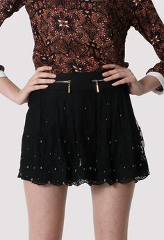 Pearl Lace Zip Shorts in Black - Best Sellers - Retro, Indie and Unique Fashion Unique Fashion, Love Fashion, Led Dress, Pearl And Lace, Everyday Fashion, Fashion Brand, Spring Summer Fashion, Vintage Inspired, Cool Style