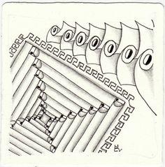 Ein Zentangle aus den Mustern Deelite, Eye, One Two, Propel gezeichnet von Ela Rieger, CZT