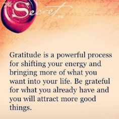 Gratitude is a powerful process of shifting your energy and bringing more of what you want into your life. Be grateful for what you already ...